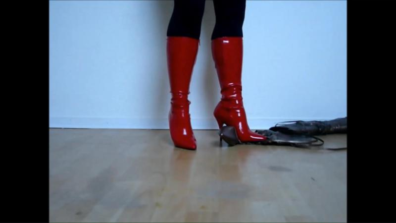 Jana destroys bronze boots with red patent spike high heel stretch boots
