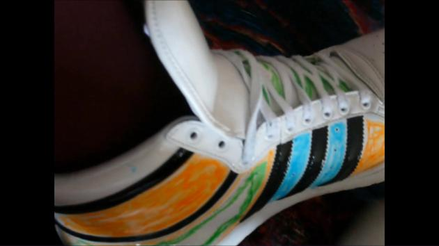 Janas friend designed her Adidas Top Ten Hi shiny white in bed