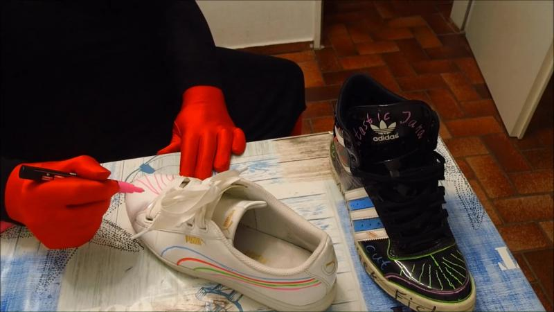 Jana paints her Adidas Top Ten shiny black and Puma Vikky shiny white sneaker and slices it all up