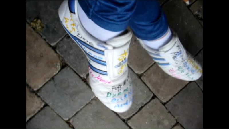 Jana with her white martial arts Adidas sneakers - drive paint destroy and burn
