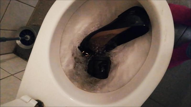 Jana with her black patent ballerinas - play kick spit toilet