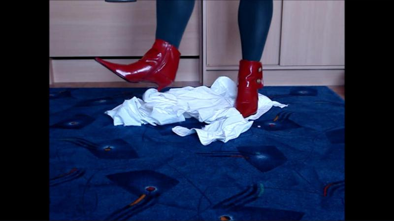 Jana tramples and destroys a white shirt of her boyfriend with her red patent leather stiletto ankle boots