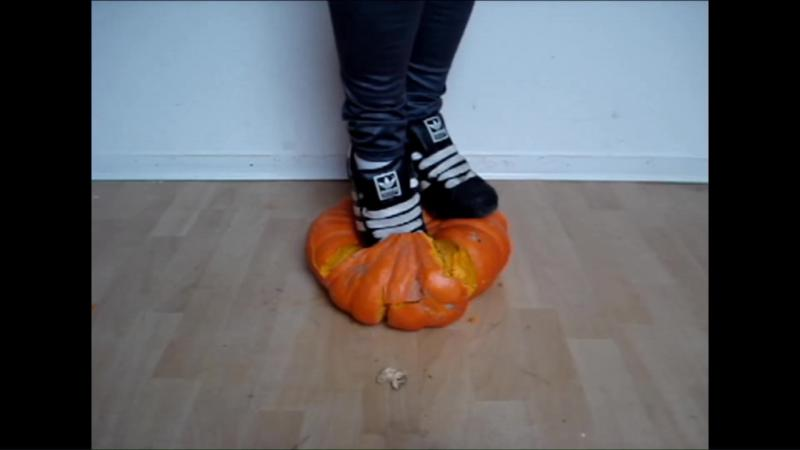 Jana crushes a pumpkin with her shiny black Adidas Superstars and washes them in the shower