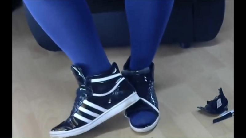 Jana squeaks write on trample messy and destroys her shiny black Adidas Top Ten sleek series sneakers